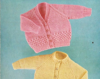 Peter Pan 231 baby cardigan vintage baby knitting pattern PDF instant download