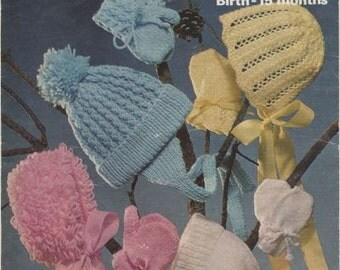 Marriner 1655 baby hat helmets and bonnets vintage knitting pattern PDF instant download
