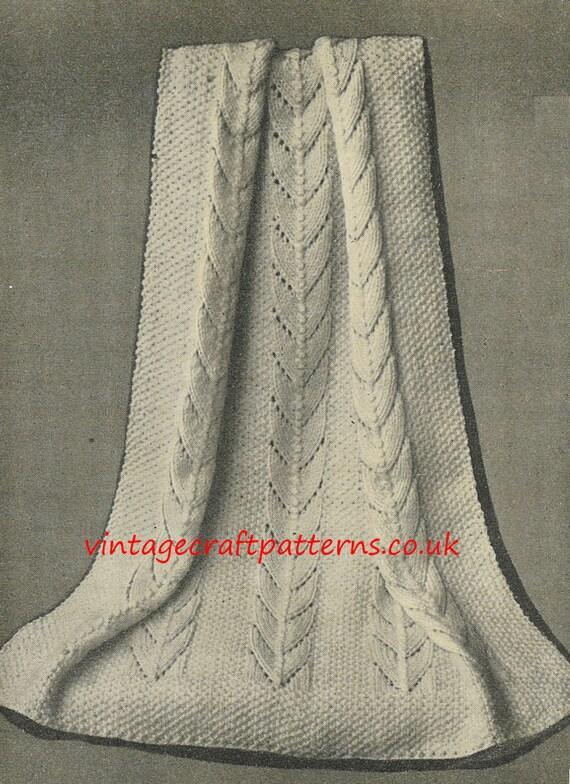 Vintage Knitting Pattern Baby Blanket : Lobelia baby pram blanket vintage knitting pattern PDF