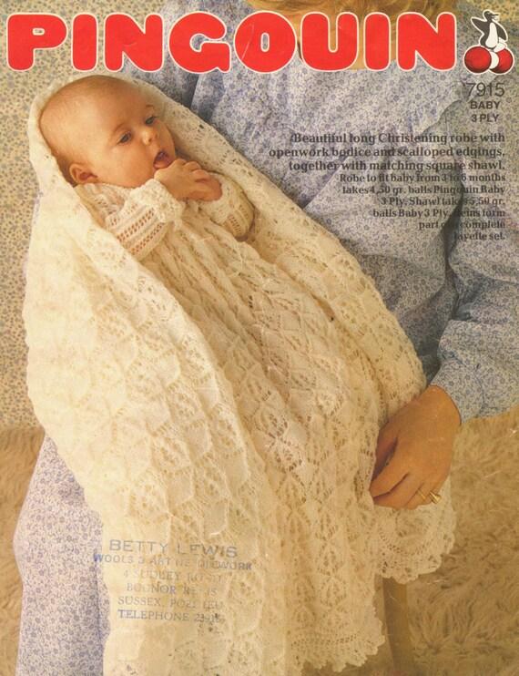 Free Knitting Pattern Cowl : Pingouin 7915 baby christening dress and shawl vintage