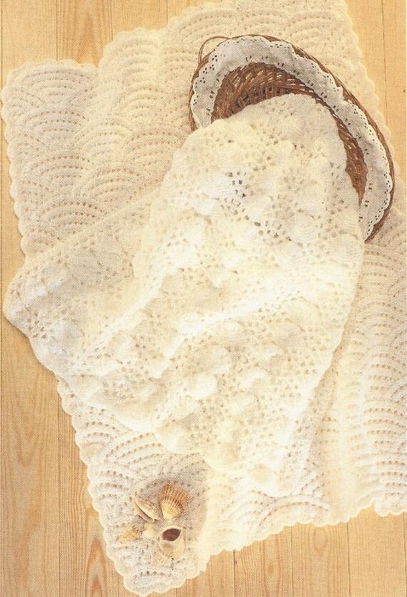 Vintage Knitting Pattern Baby Blanket : baby pram blankets vintage knitting pattern PDF instant