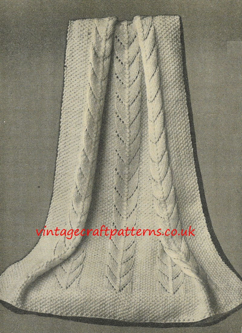 Knitting Patterns For Vintage Baby Blankets : Lobelia baby pram blanket vintage knitting pattern PDF