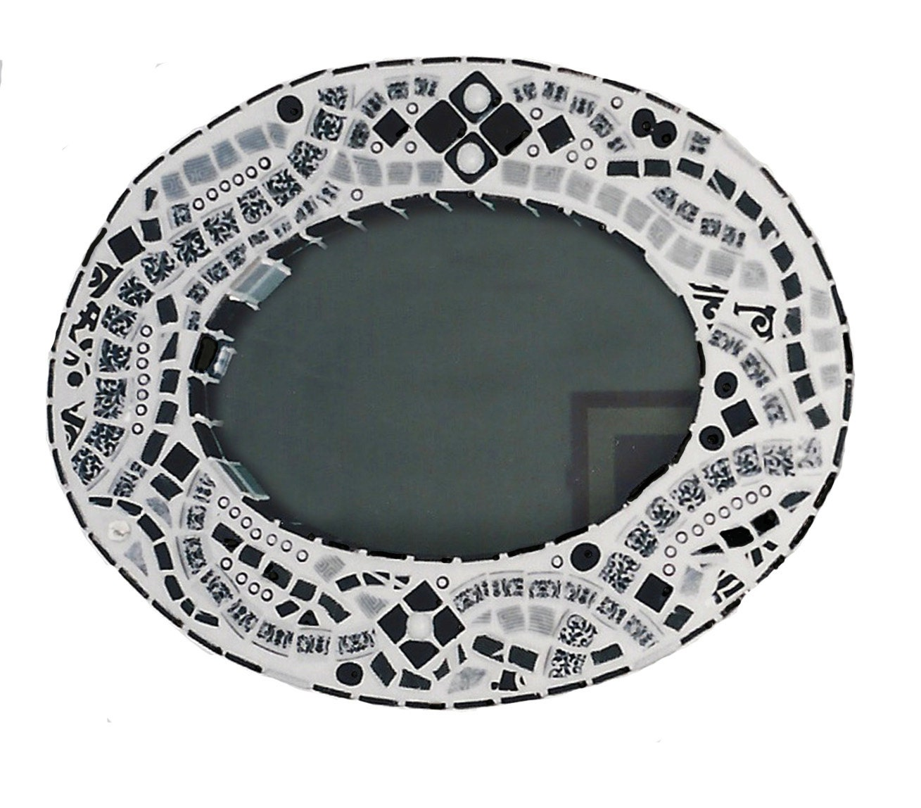 oval black and white mosaic mirror. Black Bedroom Furniture Sets. Home Design Ideas