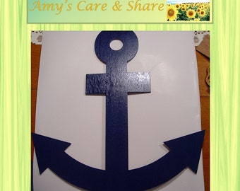 Wood Cut Out Finished Blue Anchor/Free Shipping