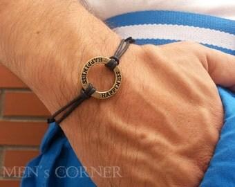 Happiness Circle Men's Bracelet  Brown Waxed Cord Adjustable Bracelet for Men Gift for Him