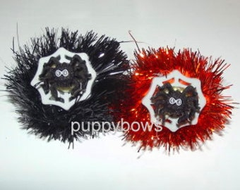 Set of 2 spider poms halloween dog bows for  yorkie maltese shih tzu dogs