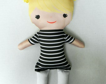 Organic Cotton Stuffed Handmade Doll Mod Blonde Zuri
