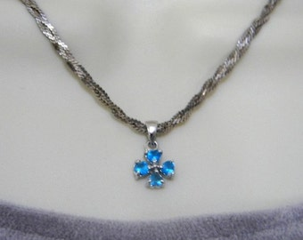 Vintage STERLING Silver NECKLACE 925 BLuE RHiNeSToNe PeNDaNT BRaiDeD SPaRKLY
