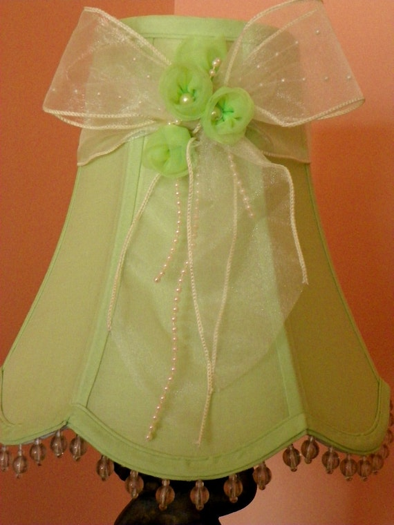 soft pastel green lamp shade with beaded trim and mint green. Black Bedroom Furniture Sets. Home Design Ideas