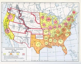 print map of the us presidential election 1860