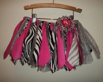 Hot Pink and Zebra Scrap Fabric Tutu
