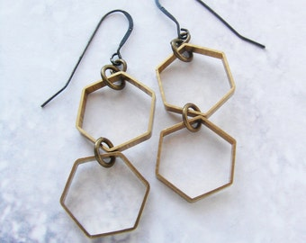 Honeycomb drop earrings, vintage hexagon dangle earrings, drop earrings, honeycomb statement earrings