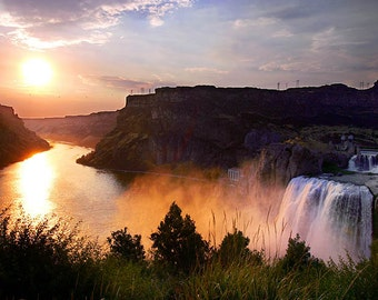 Color Photo of Sunset at Shoshone Falls