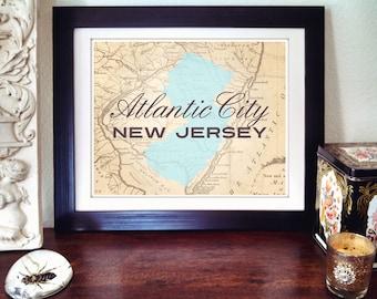 Atlantic City Print, New Jersey Print, Atlantic City New Jersey Print, NJ State Print, State Print