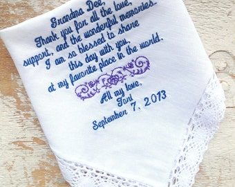 Embroidered Wedding Handkerchief Monogrammed poem Grandmother hanky personalized