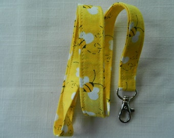 Bumble Bees on Yellow Fabric Neck Lanyard, ID Name Badge Holder, Key and Camera Holder