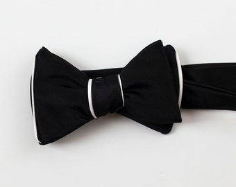Great Gatsby Style Black and White Formal Bow Tie
