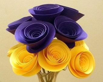 Paper Flowers in Deep Purple and Bright Yellow – Purple Floral Arrangement - Paper Bridal Bouquet -Paper Wedding Flowers
