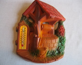 SALE! Vintage Miller Chalkware Wishing Well with Thermometer