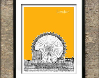 London Eye Art Print Poster - South Bank River Thames With London Eye London England
