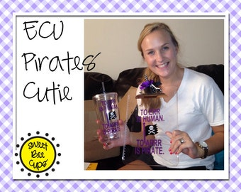 Personalized Pirate Cup, Clipboard Set - ECU Pirates Personalized Clear Acrylic Clipboard and Large 20 oz Acrylic Tumbler Cup  Set BPA FREE