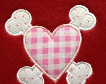 Heart & crossbones appliqué Machine embroidery design 4x4