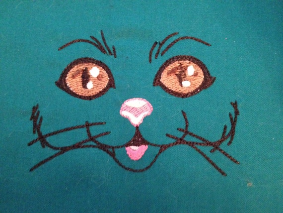 Items Similar To Cat Face Embroidery Design 4x4 Hoop Size
