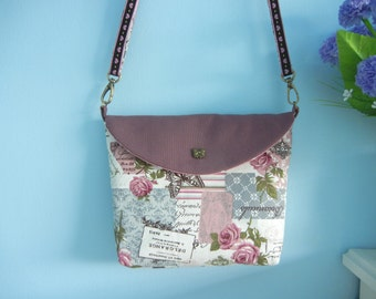 Rose & Butterfly Sling bag, Fabric Sling bag, Fabric Messenger bag, Fabric Tote bag