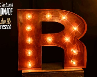 Marquee Letter, Lighted Metal MARQUEE SIGN Marquee Light, Marquee Letter, Fixture: Vintage Style, Marquee Letter, Sign Fat Letter