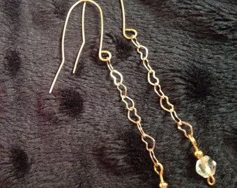 Gold Plated Long Heart Chain Earrings with Clear Glass Beads