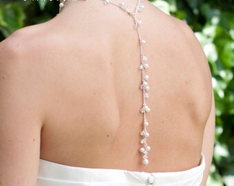 Bridal Wedding Backdrop Necklace -Backless Dress Pearls & Crystals