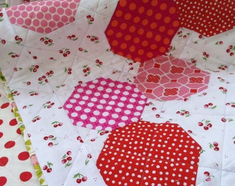 Modern baby quilt / wall hanging / baby's room accent / cheerful cherry