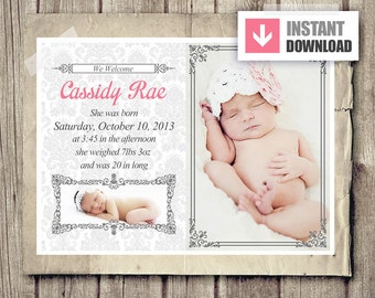 Girl birth announcement template etsy for Online baby announcement templates