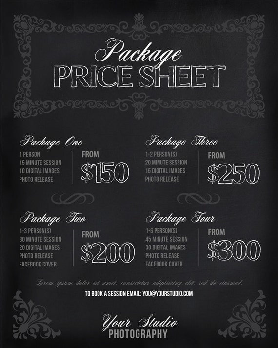 Photography Prices Wedding: Photography Price List Session Packages Pricing Sheet By