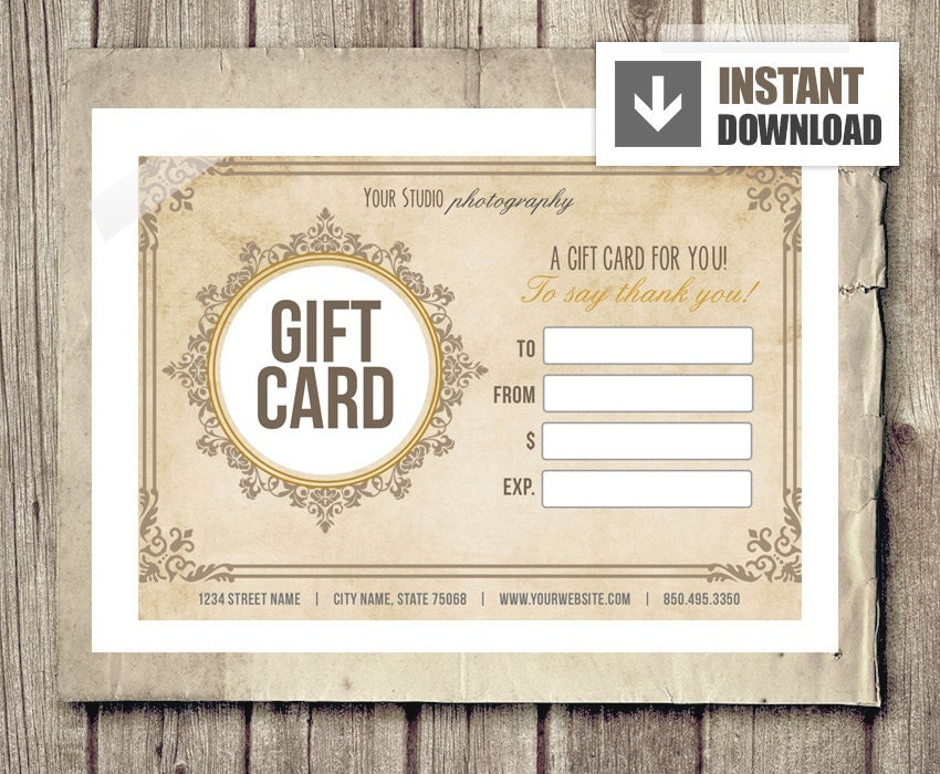 gift card certificate template for photographers vintage. Black Bedroom Furniture Sets. Home Design Ideas