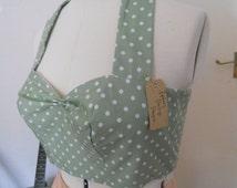 STRAPLESS Vintage Green Polka-dot bralet Top Size UK 12 - 14  Ready To Ship