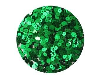 4mm Flat Sequins Green Metallic