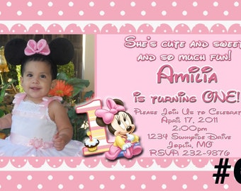 20 or more PRINTED Baby Minnie Mouse First Birthday Invitations with Photo -- Minnie Mouse 1st  Birthday Invitation