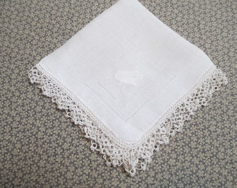 Vintage White Linen Handkerchief with Crochet