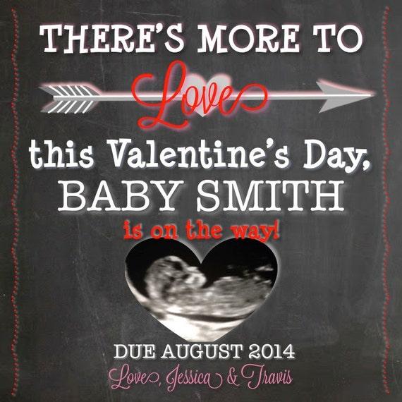 Ultrasound Valentineu0027s Day Pregnancy Announcement, Printable Pregnancy  Announcement, Valentineu0027s Day Photo Pregnancy Announcement