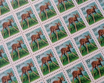 20 Baby Fawn Stamps 19 Cent (Face value 19 cents each) , Vintage Unused Postage Stamps