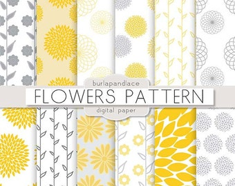 Digital paper Gray and Yellow, yellow flowers, mum flower, dahlia flower pattern, floral pattern, flower paper