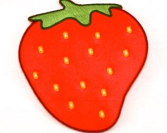 Strawberry iron-on patch to repair jeans or just because it looks sooooo good.