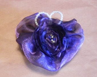 Handmade Purple Hair Clip Made of Chiffon With a Beaded Center With an Alligator Clip