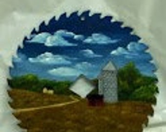 "6-3/4"" Circular Saw Blade with Oil Painted Rural Scene with Farmland and Silo"