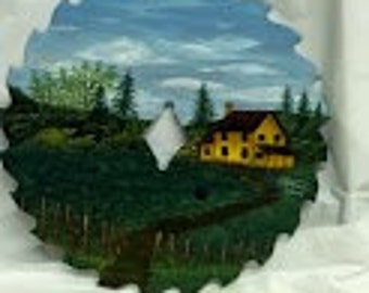 7' Circular Saw Blade Oil Painted Scene Depicting a Yellow Farmhouse near the Woods