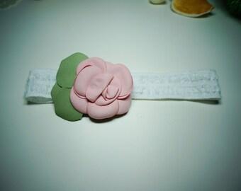 Chiffon Rose Hair Clip with Baby Elastic Hairband - Handmade