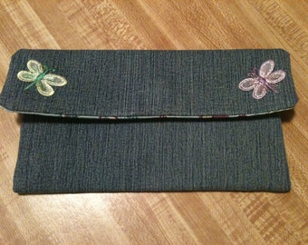 Butterfly Denim Clutch/Wallet