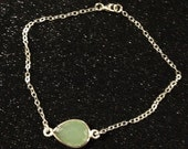 Mint Green Faceted Gemstone in Silver Bezel Setting Bracelet - Mint green and Silver Bracelet - Sterling Silver Bracelet