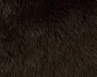 Dark Brown Luxury Shag Faux Fur Fabric